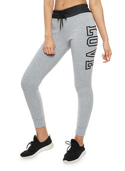 Love Graphic Fleece Lined Joggers - 1407072290206