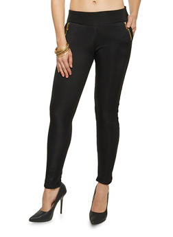 Leggings with Zipper Trim and Faux Fur Lining - 1407072291001