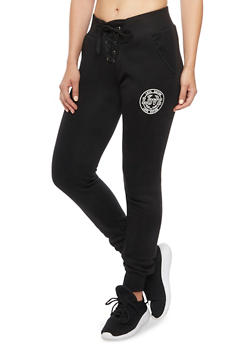 Lace Up Joggers with Love Nation Graphic - 1407072291168