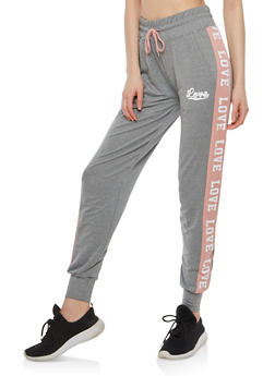 Contrast Stripe Love Graphic Sweatpants - 1407072291922