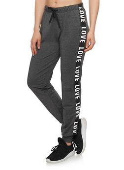 Love Graphic Drawstring Joggers - 1407072293030