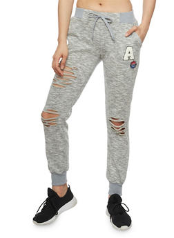 Slashed Love Graphic Drawstring Joggers - 1407072295411