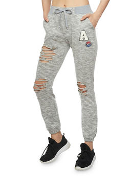Marled Love Graphic Ripped Drawstring Waist Joggers - 1407072296311
