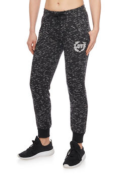 Lace Up Marled Love Graphic Joggers - BLACK - 1407072296911