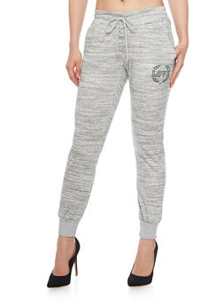 Lace Up Marled Love Graphic Joggers - 1407072296911