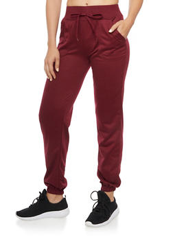 Drawstring Joggers with Smocked Hems - BURGUNDY - 1407072297035