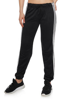Solid Joggers with Varsity Stripes - BLACK - 1407072297111