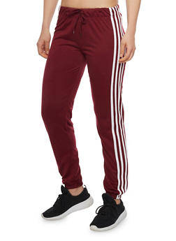 Solid Joggers with Varsity Stripes - BURGUNDY - 1407072297111
