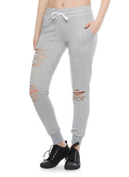 Slashed Drawstring Joggers - 1407072298786