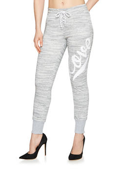 Marled Love Graphic Lace Up Joggers - 1407072299587