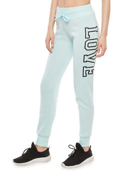Fleece Lined Love Graphic Sweatpants - 1407072299844