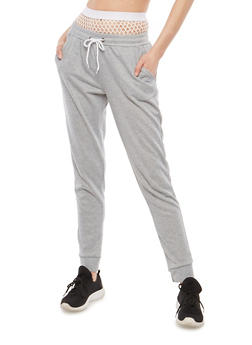 Fishnet Waist French Terry Sweatpants - 1407072299937