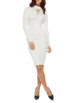 Bodycon Dress with Lace Up Cutout - IVORY - 1410015990562