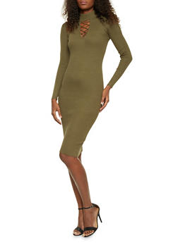 Bodycon Dress with Lace Up Cutout - OLIVE - 1410015990562