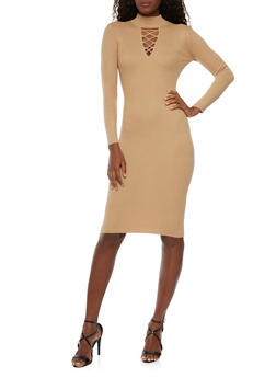 Bodycon Dress with Lace Up Cutout - 1410015990562