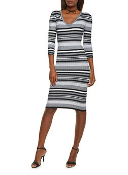 Striped Bodycon Dress with Back Cutout - BLACK/PINK - 1410015990722