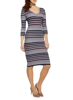 Striped Bodycon Dress with Back Cutout - 1410015990722