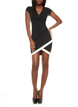 Short Sleeve V-Neck Bodycon Midi Dress With Criss-Cross Hem and Bodice,BLACK/WHITE,medium