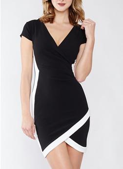 Faux Wrap Contrast Trim Dress - BLACK/WHITE - 1410015992021
