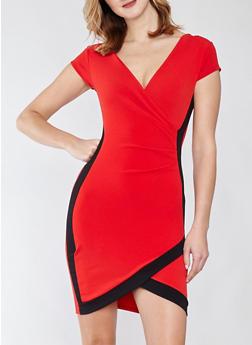 Faux Wrap Contrast Trim Dress - 1410015992021