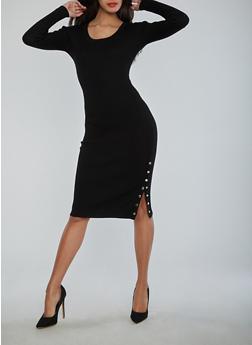 Long Sleeve Rib Knit Dress with Snap Slit Detail - BLACK - 1410015992220