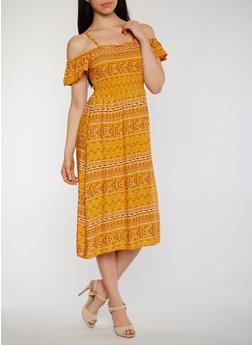 Off the Shoulder Printed Sundress - 1410015992584