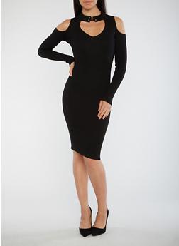 Ribbed Knit Keyhole Midi Dress - BLACK - 1410015992602