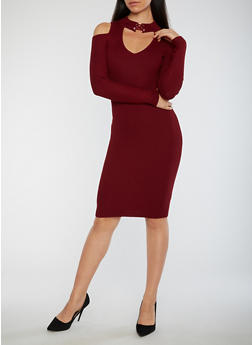 Ribbed Knit Keyhole Midi Dress - 1410015992602
