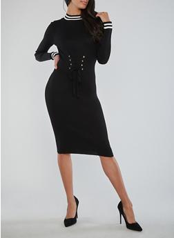 Lace Up Waist Ribbed Knit Dress - BLACK/WHITE - 1410015992610