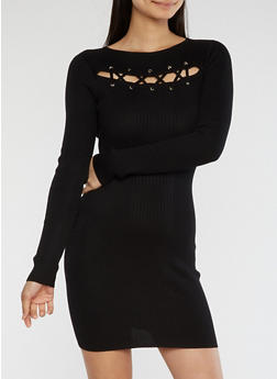Lace Up Detail Ribbed Knit Dress - 1410015992641