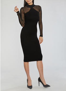 Mock Neck Sweater Dress with Mesh Sleeves - BLACK - 1410015993030