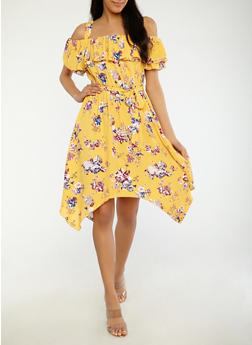 Floral Off the Shoulder Skater Dress - 1410015993048