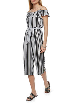 Striped Off the Shoulder Cropped Jumpsuit - 1410015993052