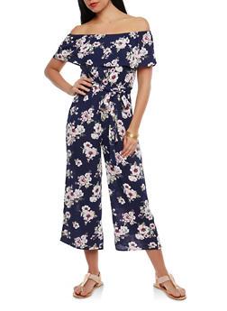 Belted Floral Off the Shoulder Jumpsuit - 1410015993069