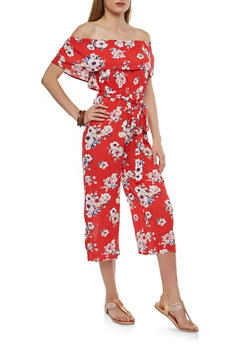 Belted Floral Off the Shoulder Jumpsuit - 1410015993069