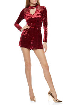 Mock Neck Crushed Velvet Romper with Lace Back Detail - 1410015993230