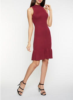 Ribbed Knit Trumpet Dress - 1410015994221