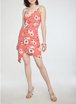 Floral Faux Wrap Ruched Dress - 1410015994229