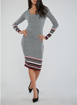 Border Print Ribbed Knit Dress - BURGUNDY - 1410015994312