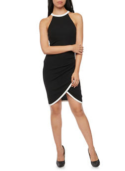 Bodycon Dress with Fixed Wrap Skirt and Pleated Waist - 1410015994581