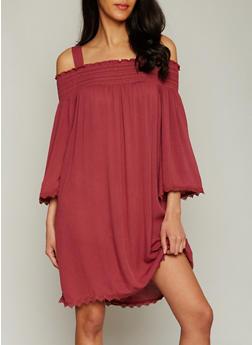 Smocked Cold Shoulder Shift Dress with Crochet Trim - 1410015994700