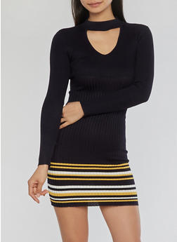 Rib Knit Choker Neck Sweater Dress - 1410015994771