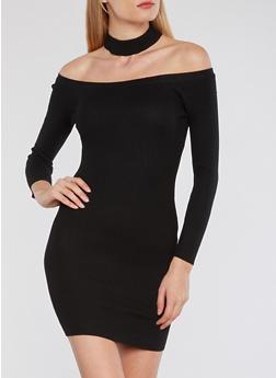 Rib Knit Off the Shoulder Choker Neck Dress - BLACK - 1410015994872