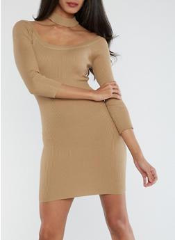 Rib Knit Off the Shoulder Choker Neck Dress - 1410015994872