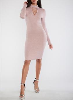 Ribbed Knit Shimmer Bodycon Dress - 1410015995166