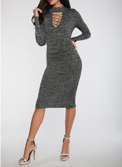 Ribbed Knit Shimmer Bodycon Dress - 1410015995166