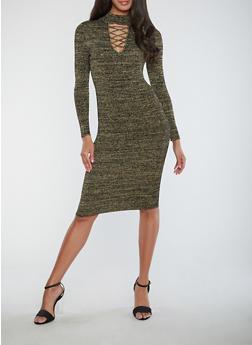 Ribbed Knit Shimmer Bodycon Dress - BLACK/GOLD - 1410015995166