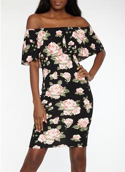Floral Print Off the Shoulder Dress - 1410015995390