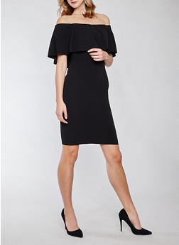 Crepe Knit Off the Shoulder Bodycon Dress - 1410015995391