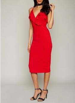 Sleeveless V Neck Midi Dress with Ruffled Details - 1410015995400